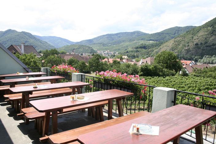Auf unserer sonnigen Terrasse sehen Sie von Spitz und dem Tausendeimerberg bis nach Weißenkirchen