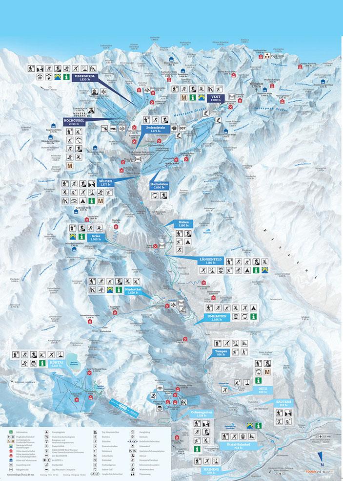 Das Ötztal, Karte, sölden, vent, gurgl, ötz, tirol, austria, map