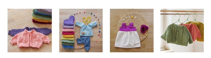 Puppenkleidung handgemacht Puppenkleid Bio Strickjacke für Puppe nach Art der Waldorfpuppe