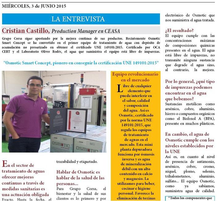 Junio certificaci n une 149101 2015 equipos osmosis - Precios descalcificadores domesticos ...