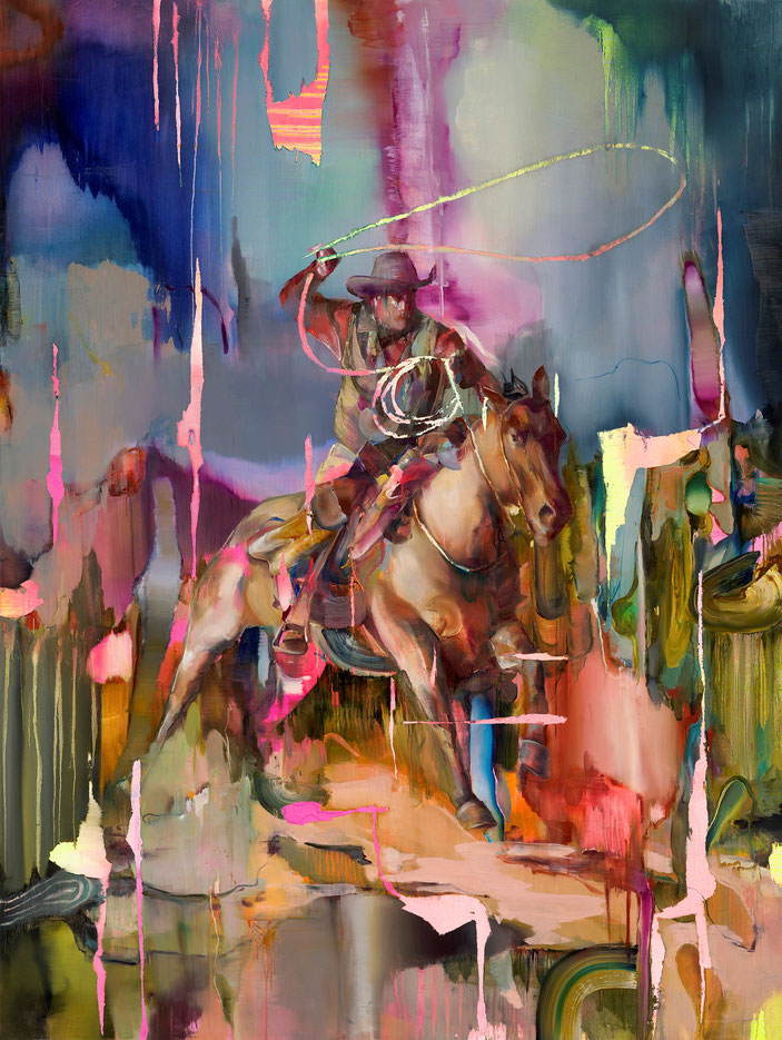 Lassoman, 240 x 180 cm, oil on linnen, 2019