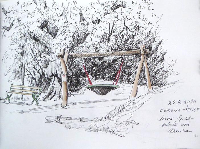 Freiburger Coronaimpression Zeichnung Annette Burrer