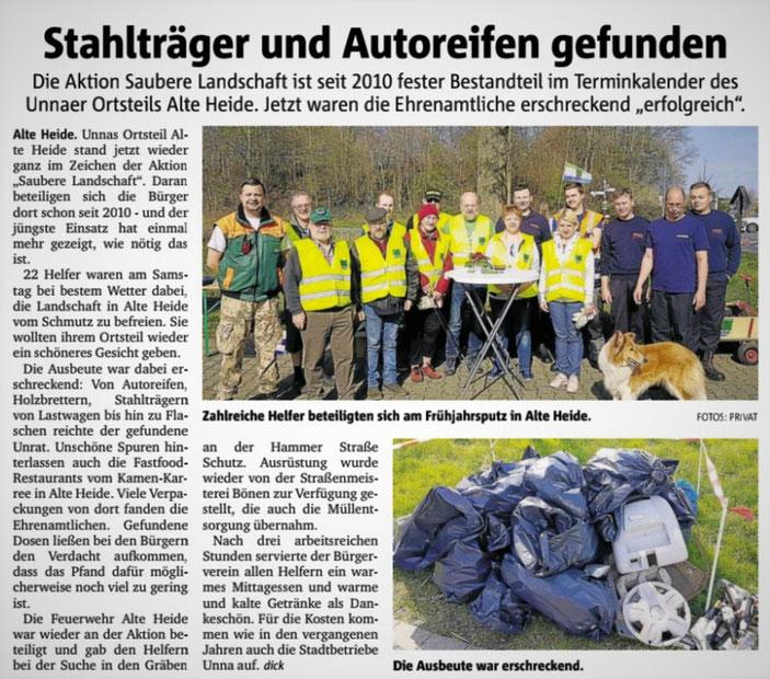 Aktion saubere Landschaft 2019 / Pressebericht vom Hellweger Anzeiger 02.04.2019