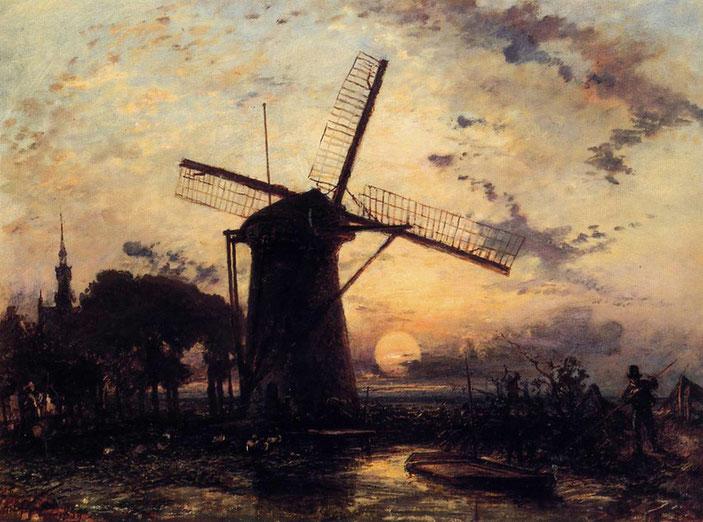 "Johan Jongkind, ""Marinaio vicino ad un mulino al tramonto"" (1859)"