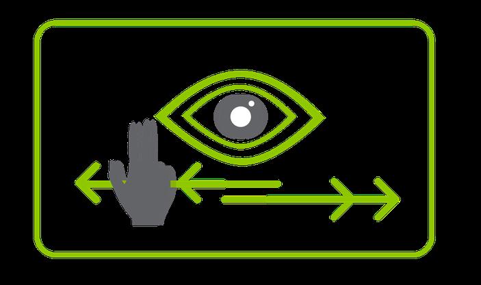 EMDR - Illustration Augenbewegungsmethode in grün mit Hand, Auge, zwei Pfeile, die nach rechts und links zeigen