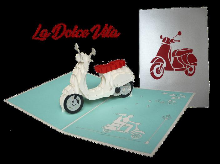 Carte pop-up Vespa - scooter en 3D