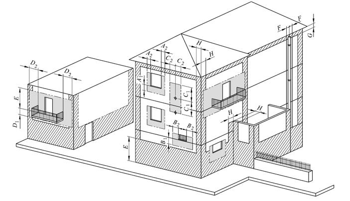 disegno dei divieti di installazione dei terminali di scarico a parete delle caldaie a condensazione e degli scaldabagno a gas secondo la norma uni 7129/2015