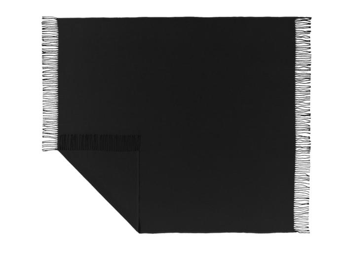 Einfarbiges Plaid Madison in Schwarz mit Fransenabschluss