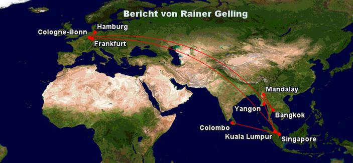 Bild: Reisekarte für die 5 Wochen durch Asien