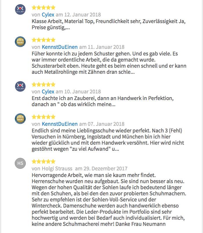 Rezensionen der Schuhmacherei Ingrid B. Neumann bei 11880.com