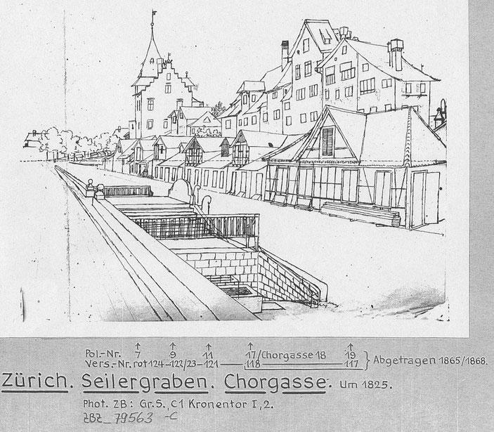 Der Seilergraben um 1825 mit den Seilerschöpfen und dem Kronentor (heute Seilergraben 3 bis 17), Zeichnung Stadtarchiv / ZB