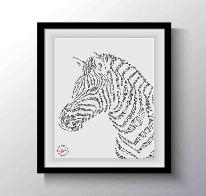 Handlettering: gelettertes Zebra von wunschbriefe bei den Letter Lovers