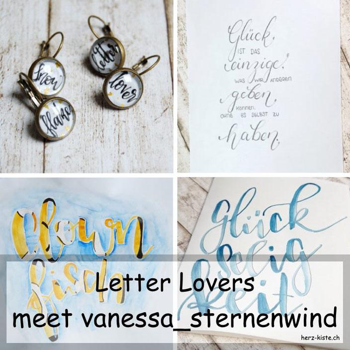 Handlettering Interview: vanessa_sternenwind zu Gast mit einer Anleitung für Cabochon Ohrringe mit Lettering