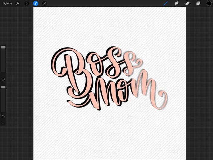 Boss mom Lettering - einfache Anleitung für ein 3D Lettering mit dem iPad  und Procreate