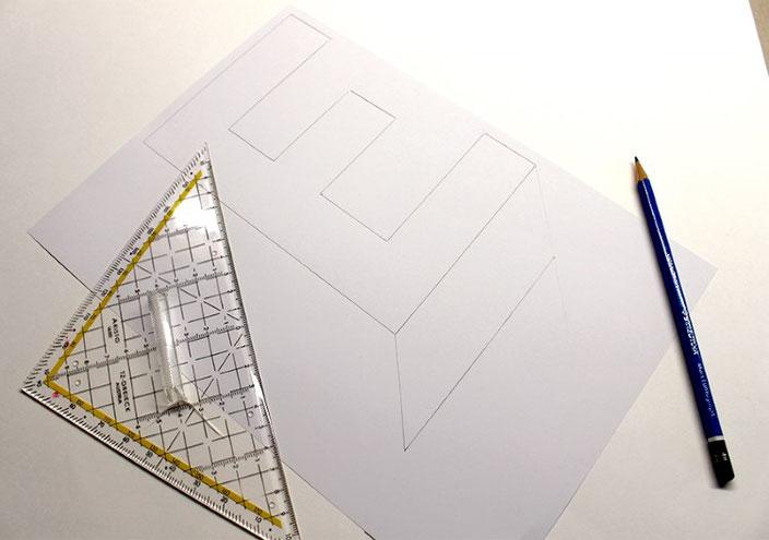 Handlettering Anleitung: gestalte eine optische Illusion mit dem Buchstaben E (Schritt 2)