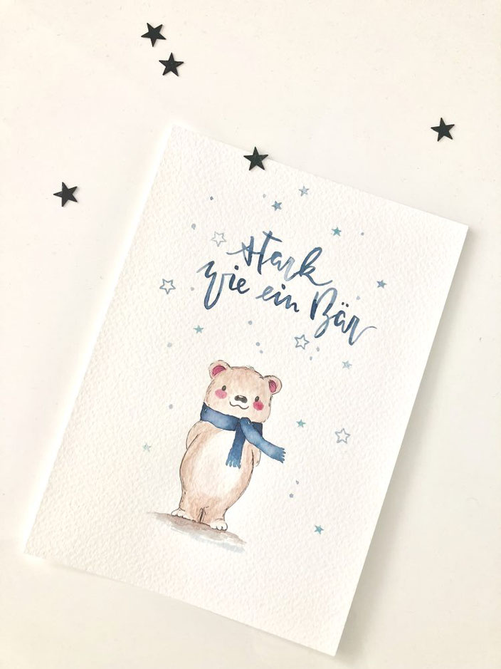 Handlettering mit Aquarell Illustration Bär: stark wie ein Bär (letter_fee für die Letter Lovers)