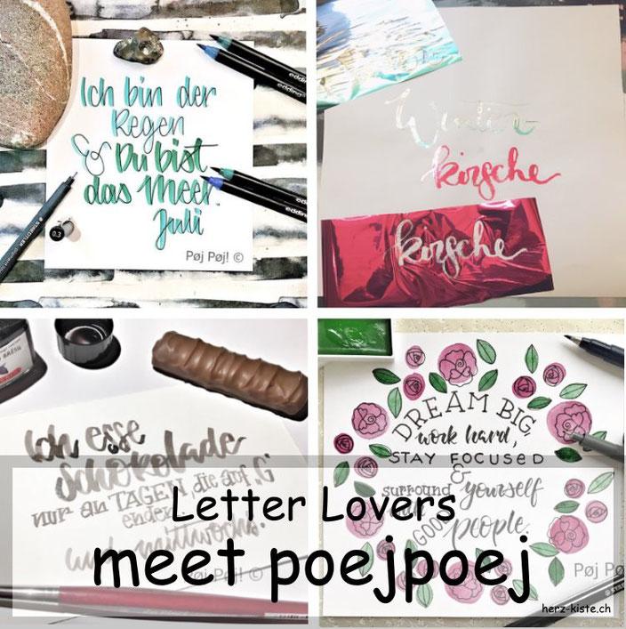 Letter Lovers in der Herz-Kiste: poejpoej zu Gast im Lettering Interview mit einer Anleitung zum Folieren ohne Drucker mit wasserlöslichem Leim