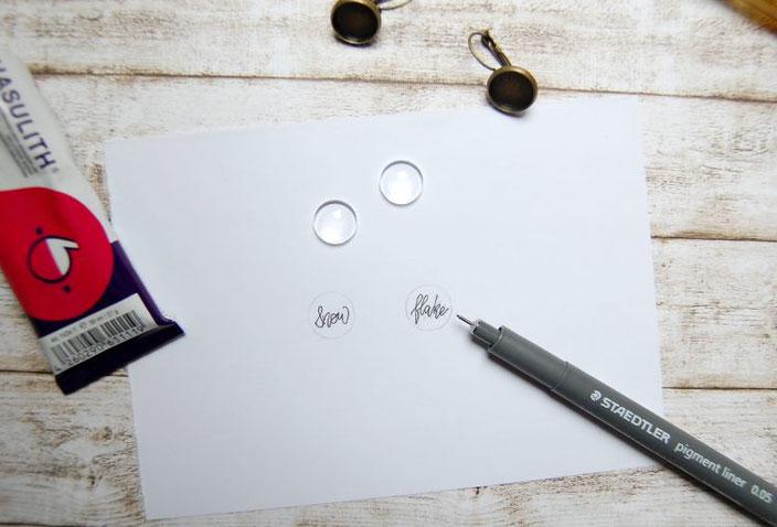 DIY Anleitung für Cabochon Ohrringe mit Lettering - Schritt 1: vorzeichnen