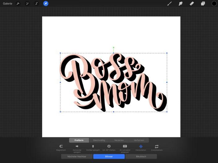 Boss mom - so einfach gestaltest du mit dem iPad und Procreate ein digitales 3D-Lettering