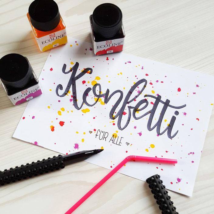 Konfetti für alle - ein Handlettering Bild im Lettering Guide für Anfänger