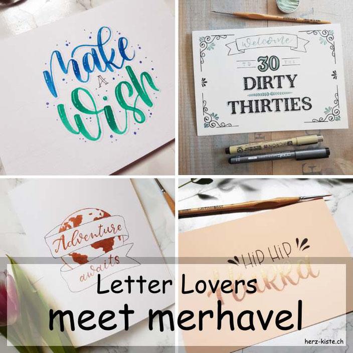 Letter Lovers - merhavel zu Gast im Lettering Interview mit einer Anleitung für individuell gestaltete und einfache Geburtstagskarten