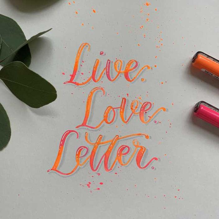 Live. Love. Letter. Handlettering mit Blending in neon Farben und Sprenkel. (Schritt für Schritt Anleitung zum nachmachen)