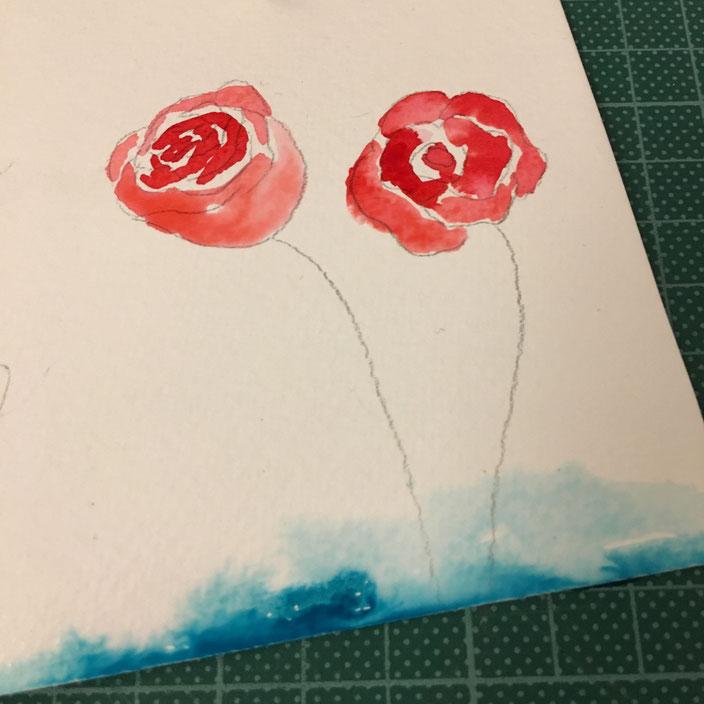 DIY Anleitung für eine Flaschenbanderole mit Handlettering und Aquarellrosen: Rosen kolorieren