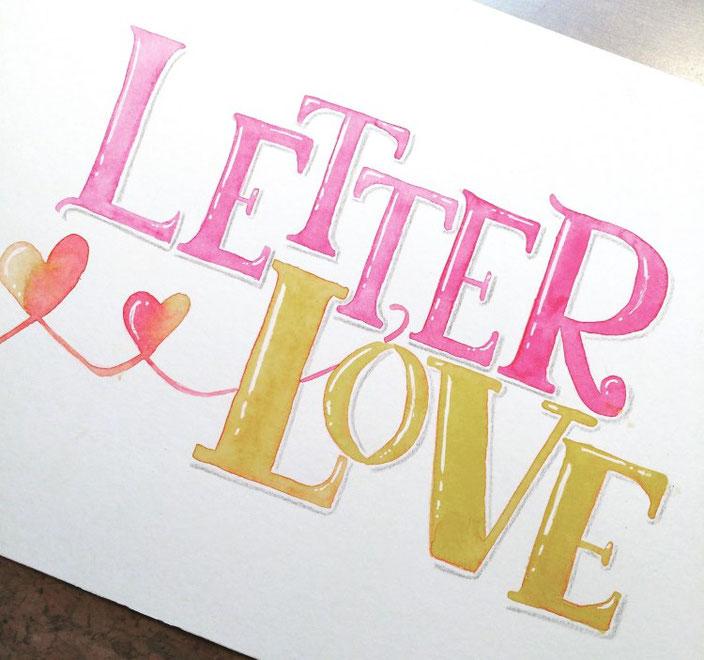 Letter Love - pink gelbes Handlettering