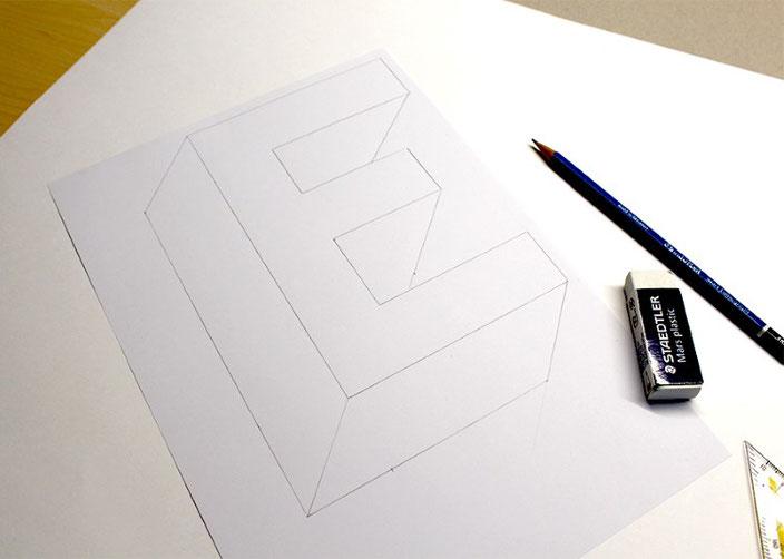 Handlettering Tutorial: eine optische Illusion mit dem Buchstaben E gestalten - Schritt 2
