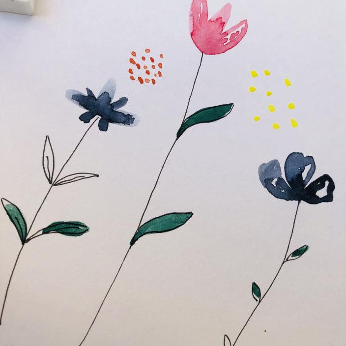 einfache Anleitung für Aquarellblumen - Schritt 3 - mit dem Fineliner Stängel malen