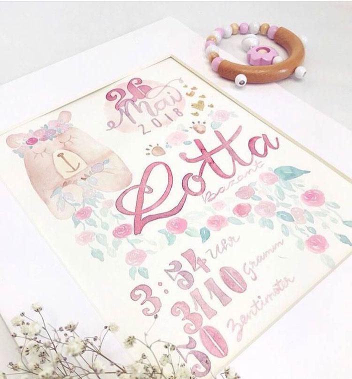 Lotta - eine Watercolor Geburtsanzeige mit Handlettering (von herzens.dame für die Letter Lovers)