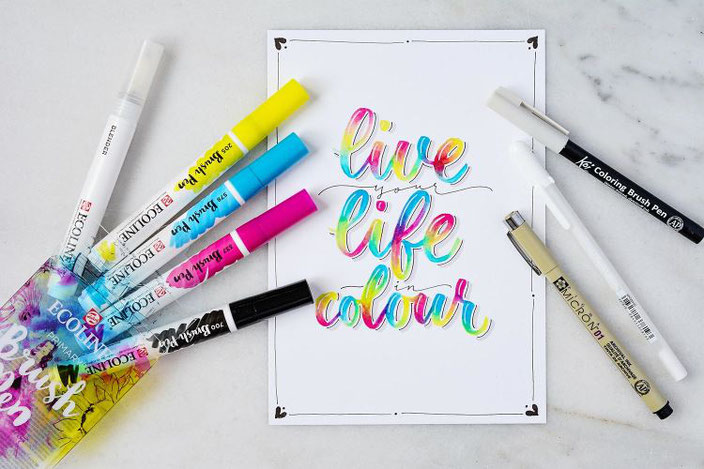 buntes Lettering: live your life in colour - Handlettering von papier.liebe bei den Letter Lovers