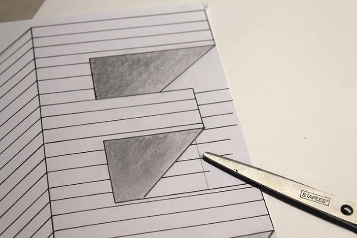 Handlettering Anleitung: gestalte eine optische Illusion mit dem Buchstaben E (Wichtig: richtig Ausschneiden)