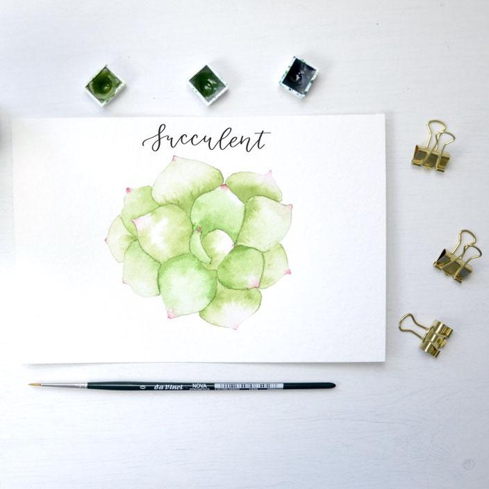 succulent - Lettering mit Aquarell von kreafine für die Letter Lovers