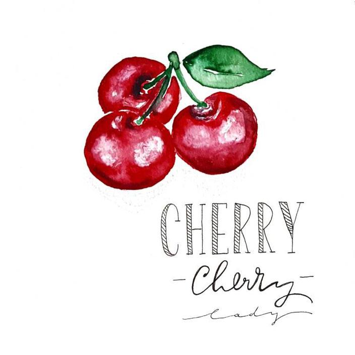 Handlettering mit Watercolor: Cherry (Lettering von _kreatives_k_ bei den Letter Lovers)