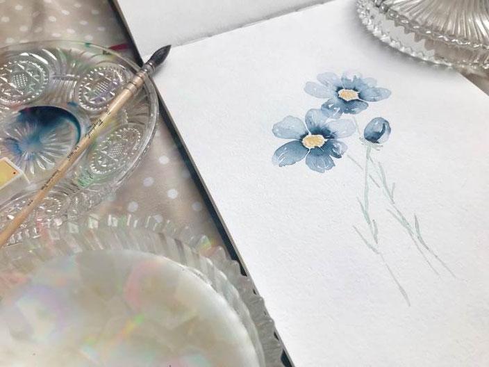 blaue Watercolor Blumen - herzens.dame bei den Letter Lovers