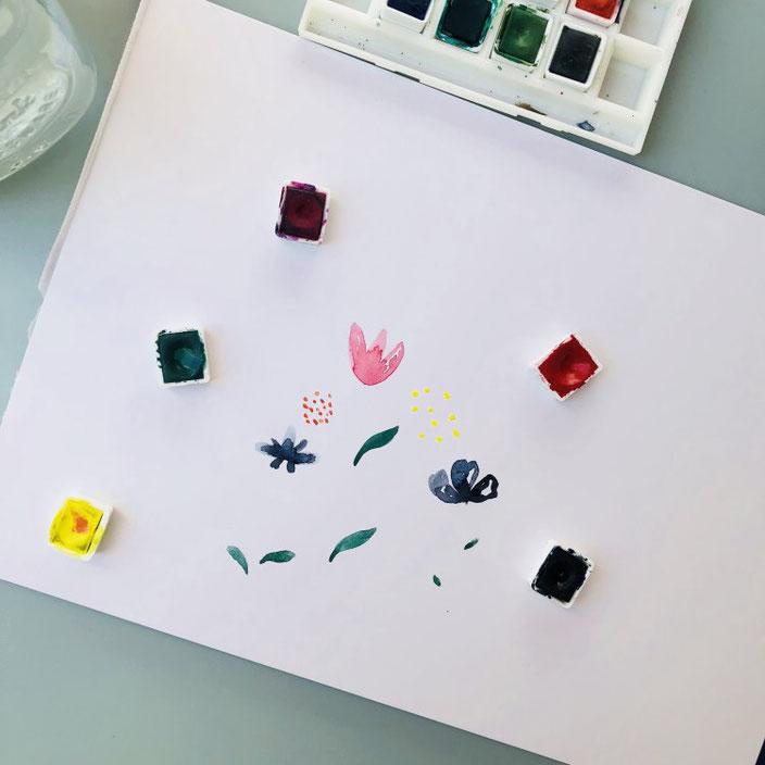 Schritt für Schritt Anleitung für einfache Aquarellblumen