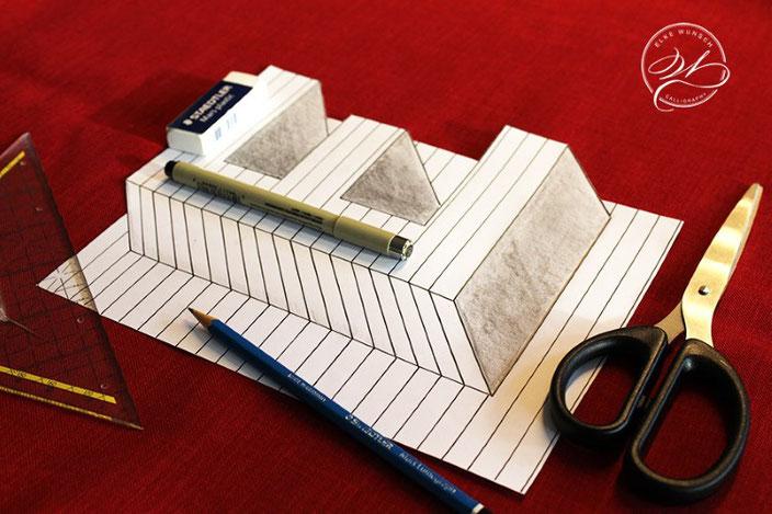 DIY Handlettering Anleitung: gestalte eine optische Illusion mit dem Buchstaben E und zaubere einen tollen WOW Effekt!