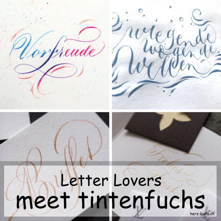 Letter Lovers - tintenfuchs zu Gast im Lettering Interview mit einer Anleitung zu einem Wellenbild