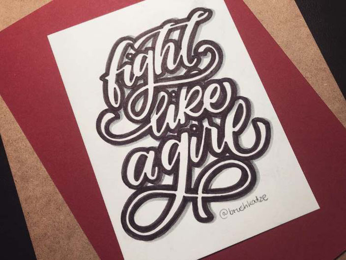 Lettering: Fight like a girl (brushkatze für die Letter Lovers)