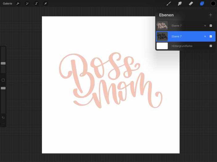 Schritt für Schritt Anleitung für ein schnelles 3D Lettering in Procreate - Schritt 2