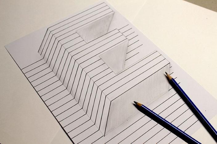 Lettering Anleitung: gestalte eine optische Illusion mit dem Buchstaben E - Unterseite grau anmalen