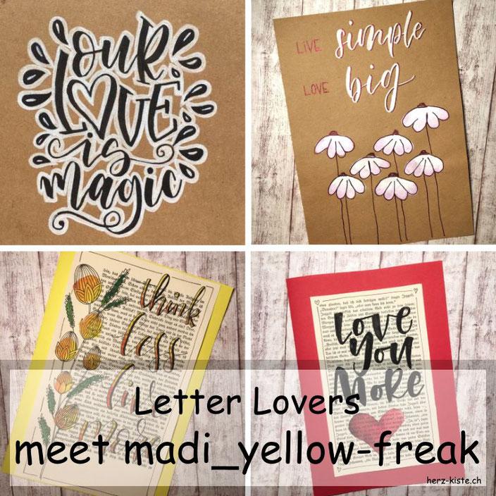 Letter Lovers - madi_yellow_freak zu Gast im Lettering Interview mit einer Anleitung für ein effektvolles schwarz-weiss-Lettering
