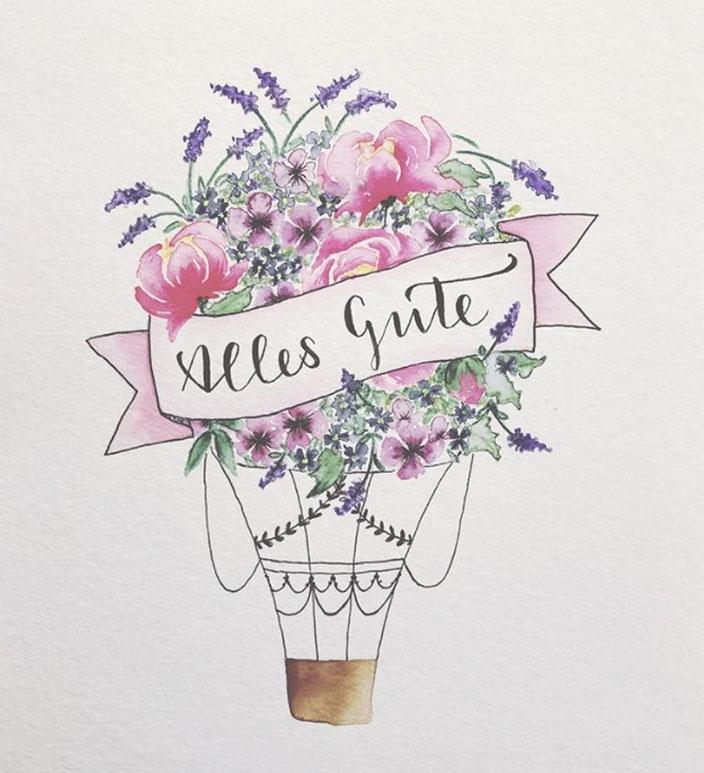 Handlettering mit Aquarell Blumenbouqet: Alles gute (Letter_fee für die Letter Lovers)