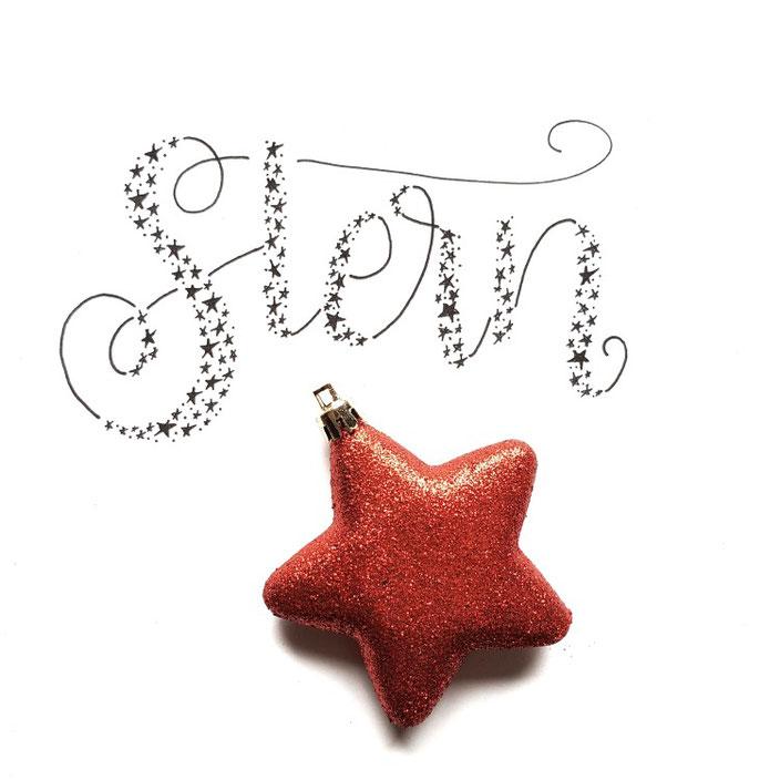 Handlettering im Faux Calligraphy Stil mit Sternen: Stern