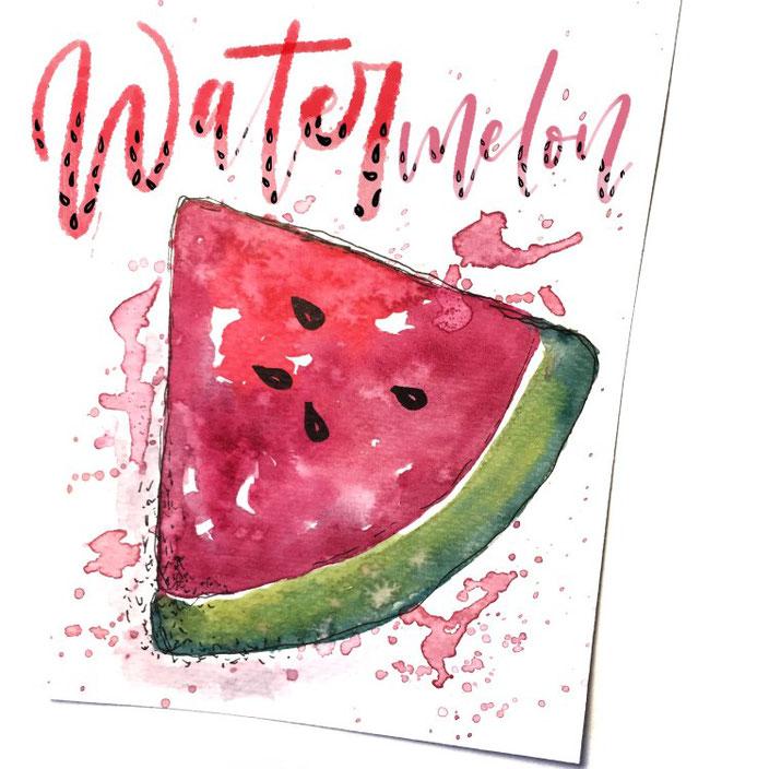 Watermelon - Handlettering mit Aquarellbild von madi_yellow_freak für die Letter Lovers