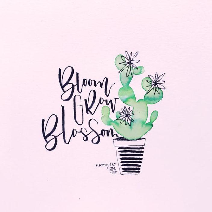 bloom - grow - blossom - Handlettering mit Kaktus von sketchedbytanja für die Letter Lovers