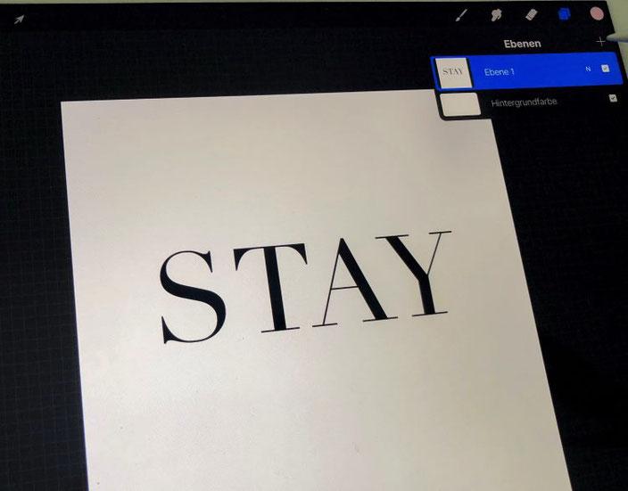 Wichtig beim iPad Lettering: neue Ebene für neuen Schriftzug wählen