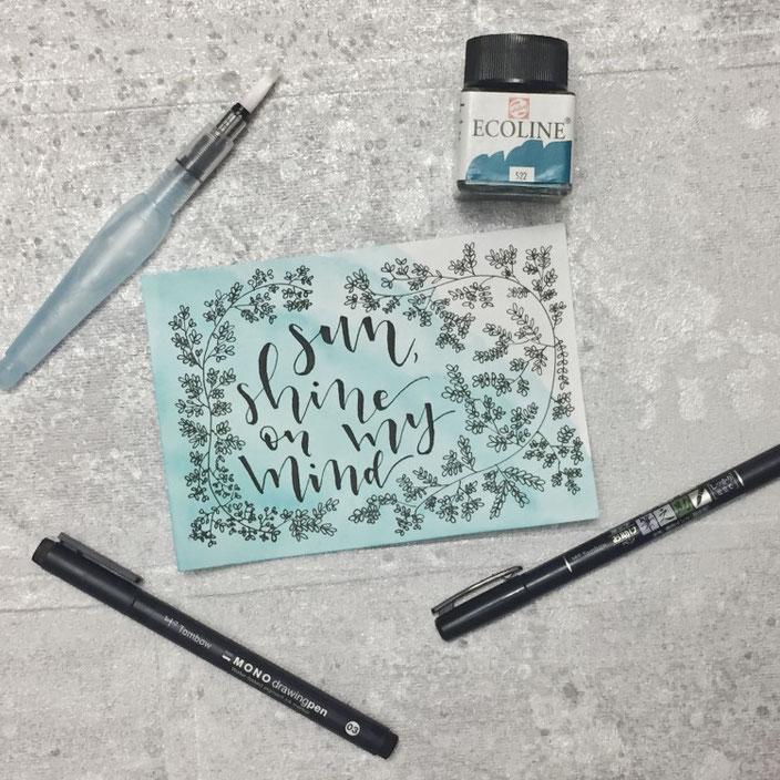 Handlettering von wortliebelei bei den Letter Lovers: sun shine on my mind