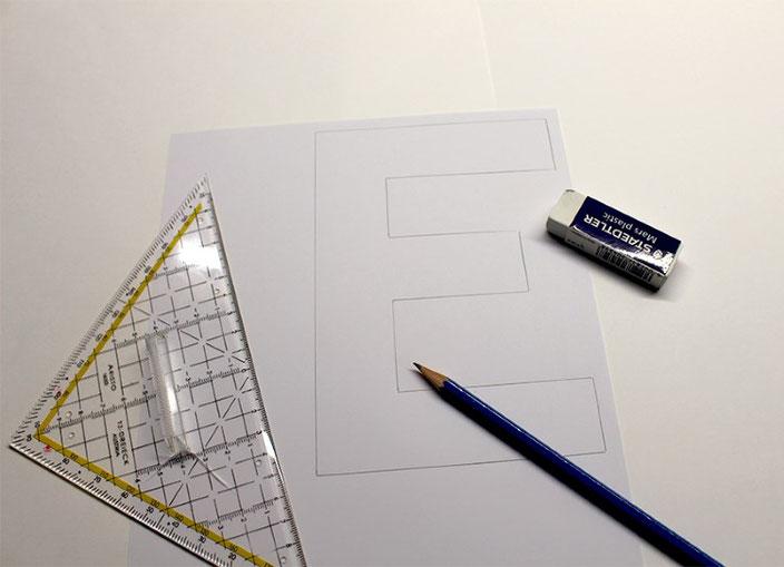 Lettering Tutorial: gestalte eine optische Illusion mit dem Buchstaben E (Schritt 1)